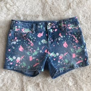 Justice Jean Shorts with Paint Splatter Design